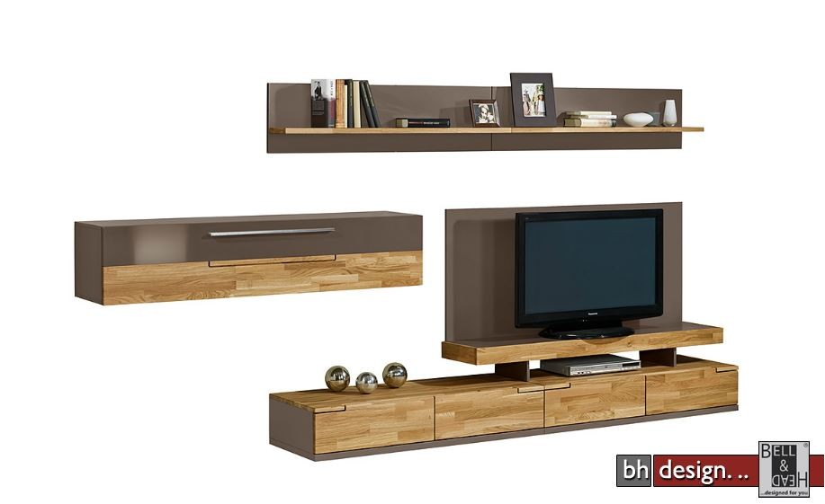arte m wohnwand feel weiss alternativ cubanit hg eiche massiv 315 cm x 165 cm powered by bell. Black Bedroom Furniture Sets. Home Design Ideas