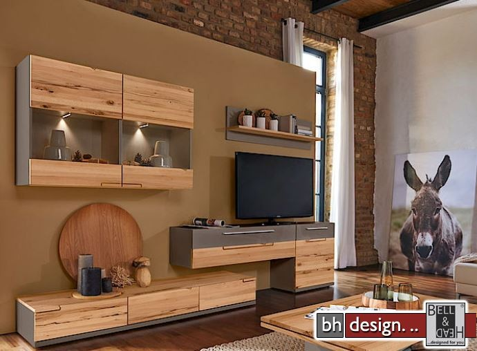 arte m wohnwand feel weiss hg eiche massiv 270 cm x 181 cm powered by bell head. Black Bedroom Furniture Sets. Home Design Ideas