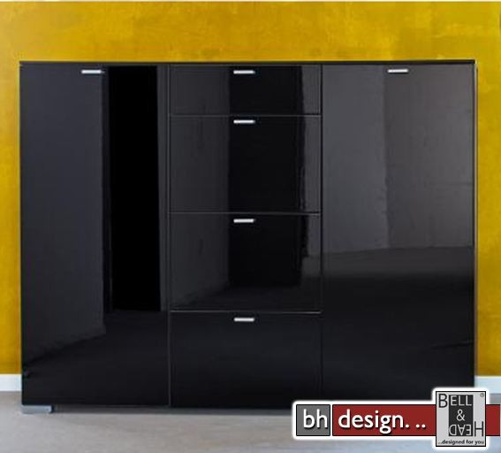 arte m highboard gallery hg schwarz schwarz 150 x 116 cm powered by bell head preiswerte. Black Bedroom Furniture Sets. Home Design Ideas