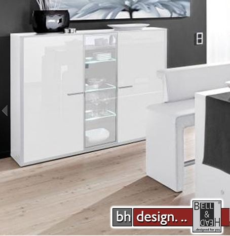 arte m highboard game plus weiss hochglanz parasolglas powered by bell head preiswerte. Black Bedroom Furniture Sets. Home Design Ideas