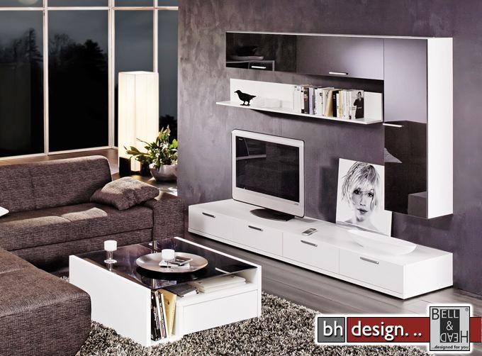 arte m wohnwand game weiss schwarzglas 240 x 182 5 x 55 cm powered by bell head preiswerte. Black Bedroom Furniture Sets. Home Design Ideas