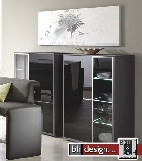 arte m highboard game schwarz schwarzglas 103 x 134 cm powered by bell head preiswerte. Black Bedroom Furniture Sets. Home Design Ideas