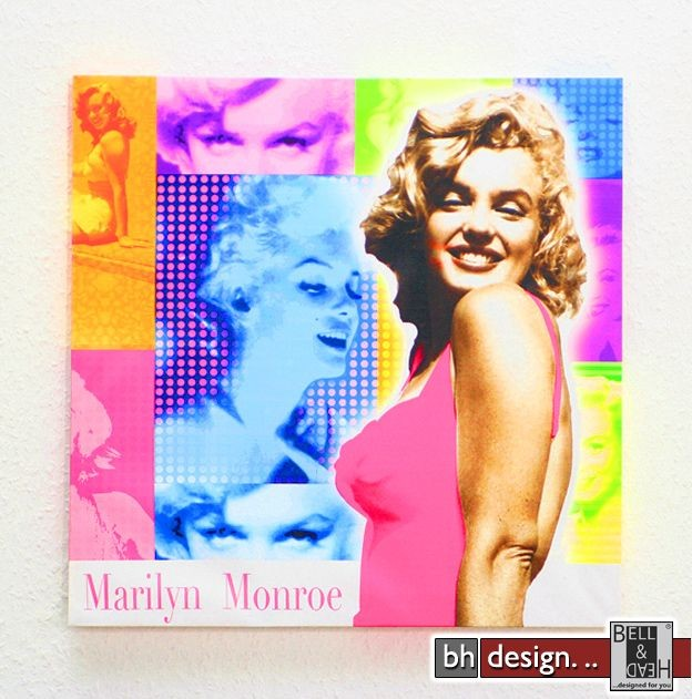 bild marilyn monroe 40 x 40 cm powered by bell head preiswerte versandkosten innerhalb de. Black Bedroom Furniture Sets. Home Design Ideas
