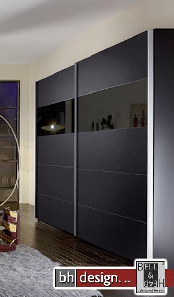 arte m schiebetuerenschrank inline schwarz glas schwarz powered by bell head preiswerte. Black Bedroom Furniture Sets. Home Design Ideas