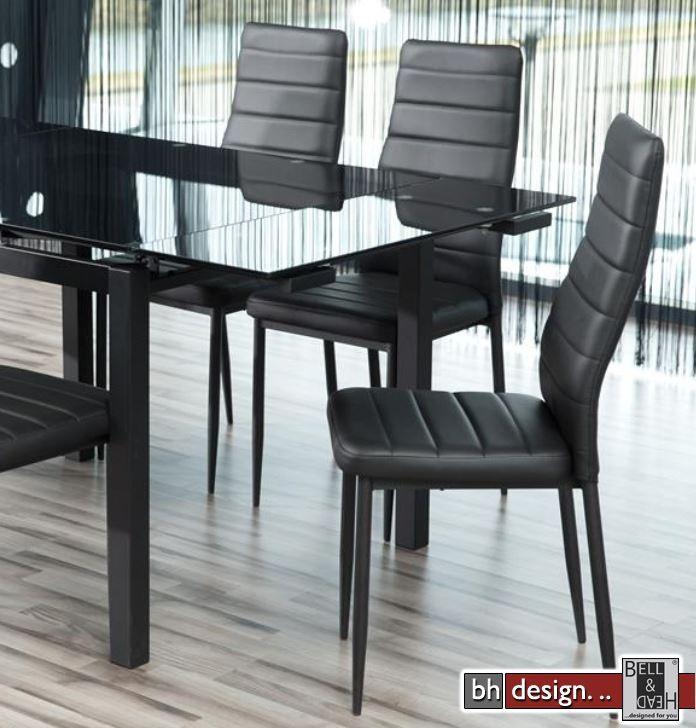 Design esstisch schwarz glas for Design ausziehtisch