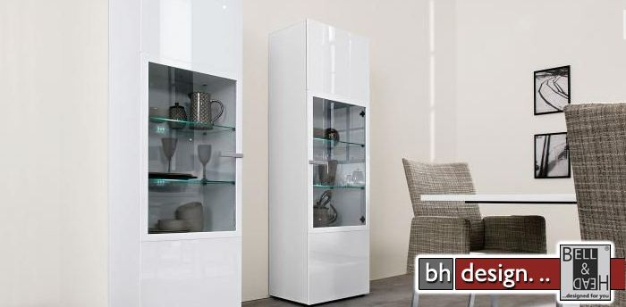 arte m vitrine linea w weiss hochglanz silber 60 x 194 cm powered by bell head 0 00. Black Bedroom Furniture Sets. Home Design Ideas