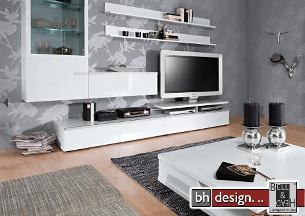 arte m wohnwand linea w weiss hg silber 300 x 200 x 55 cm. Black Bedroom Furniture Sets. Home Design Ideas