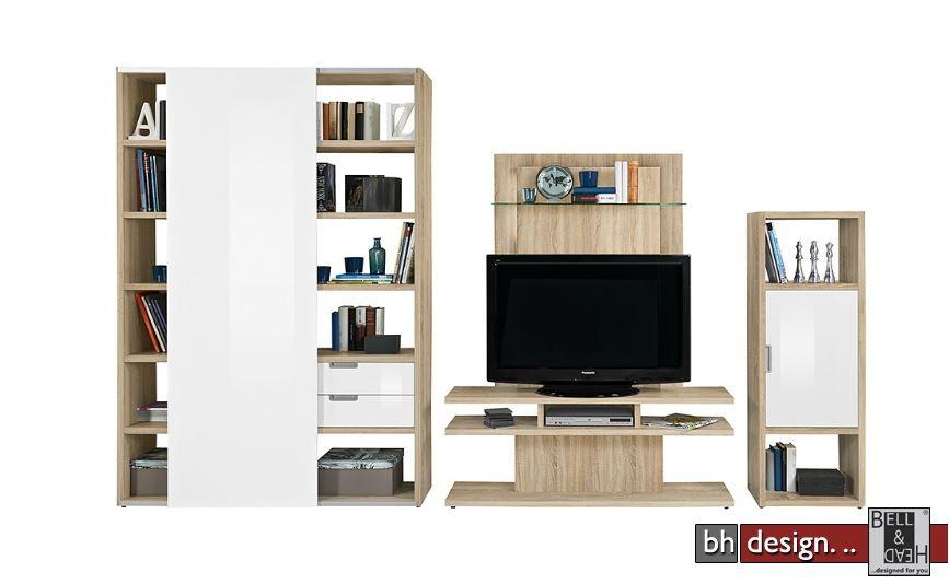 arte m wohnwand one mit 1 schiebet r 1 dreht r ein fernsehmodul in verschiedenen farben 395 x. Black Bedroom Furniture Sets. Home Design Ideas