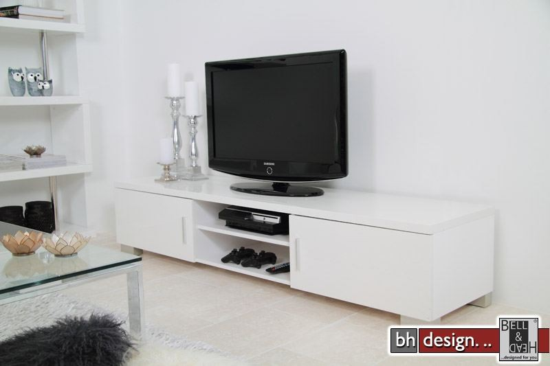 ray tv tisch hochglanz weiss powered by bell head preiswerte versandkosten innerhalb de. Black Bedroom Furniture Sets. Home Design Ideas