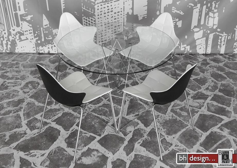 Glamour esstisch glas und chromgestell rund 100 cm powered for Designer esstisch glas rund