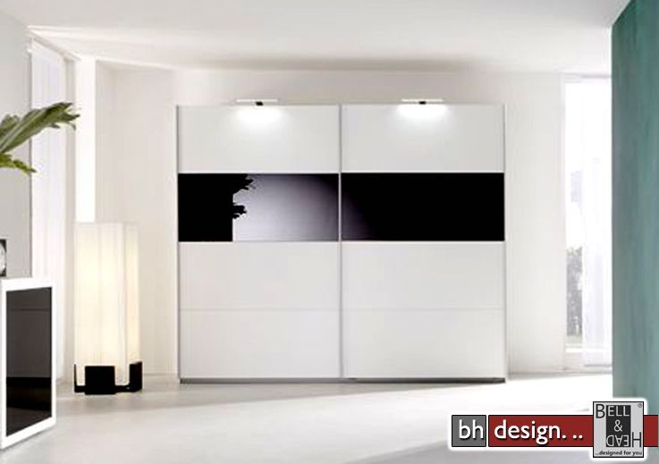arte m schiebetuerenschrank style weiss schwarzglas powered by bell head preiswerte. Black Bedroom Furniture Sets. Home Design Ideas