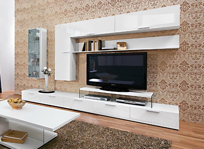 Arte m wohnwand game plus weiss hochglanz 300 x 182 5 x 55 for Wohnwand 300 cm
