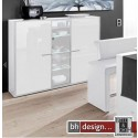 Arte M Highboard Game Plus Weiss Hochglanz/Parasolglas 161 cm x 134 cm x 42 cm
