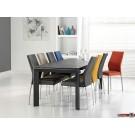 Milan 2 Esstisch oder Konferenztisch, gefrostetes Grauglas und Schwarz ausziehbar 180/230 cm