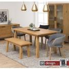 Chara Esstisch Wildeiche Echtholzfurnier geölt  260/250 x 90 cm skandinavischer Stil