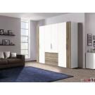 Express Möbel  Drehtürenschrank NAVAJO, diverse Größen,  Front Lack weiss mit Absetzung, Höhe  216 cm
