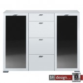 Arte M Highboard Gallery Plus Weiss/Schwarzglas 150 x 116 cm