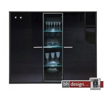 Arte M Highboard Game Schwarz/Schwarzglas 161 cm x 134 cm x 42 cm