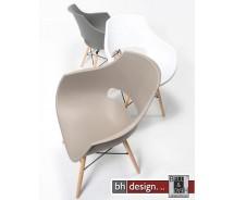 Emma  Schalenstuhl aus hochwertigem Kunststoff mit Holzspinnengestell in verschiedenen Farben