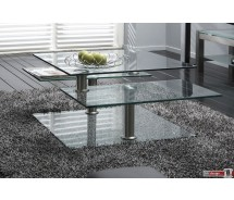 Amalfa Couchtisch aus Glas verschiedene Ebenen drehbar  von 80 x 80 cm bis 140 x 80 cm