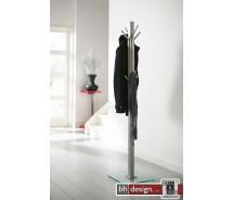 Carry Line Garderobenständer aus Edelstahl und Sicherheitsglas