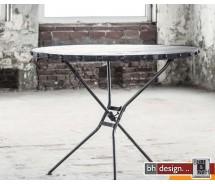 Rift Esstisch Mangoholz und Stahlgestell im Antiklook 100 cm rund