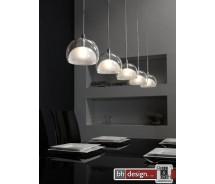 Lounge Line Pendelleuchte mit 5 Leuchten aus Klarglas und Milchglas