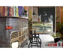 Tata Theke, Bar  by Canett Design  recycelt Akazie in Busform 232 x 45 x  H 105 cm