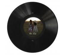 Runder LP Bilder-Rahmen aus echter Vinyl-Schallplatte mit rundem Bildausschnitt 11,5 cm Durchmesser