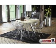 Aliance Esstisch  by Canett Design Chrom mit Beige Glas 120 cm rund und ausziehbar