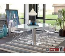 Polaris Esstisch/Säulentisch  by Canett Design Edelstahl mit Weissglas 120 cm rund und ausziehbar