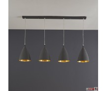 Industrie Line Hängelampe 4-er Set  schwarz mit innen Altgold 120 x  H 150 cm