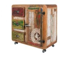 Bombay Schrank,1 Tür, 3 Schubladen  by Canett Design in Mangoholz massiv B 100 x H 90 cm
