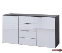 Express Möbel Kommode Carina , 4 Schubkästen, 2 Türen, Front verschiedene Glasvarianten, 140 x 80 cm