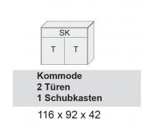 Arte M Kommode Chester, Weiss Ultramatt, 2 Türen, 1 Schubkasten 116 x 92 x 42 cm