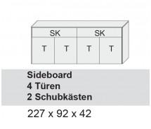 Arte M Sideboard Chester, Weiss Ultramatt, 4 Türen, 2 Schubkästen 227 x 92 x 42 cm