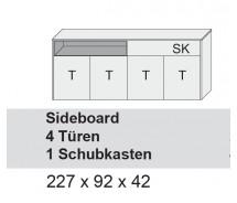 Arte M Sideboard Chester, 4 Türen, 1 Schubkasten, diverse Farbvarianten 227 x 92 x 42 cm