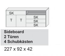 Arte M Sideboard Chester, 2 Türen, 4 Schubkästen, diverse Farbvarianten 227 x 92 x 42 cm