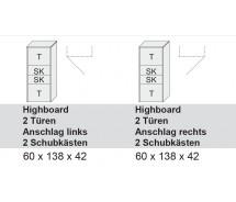 Arte M Highboard Chester. 2 Türen, 2 Schubkästen weiss Ultramatt  in verschiedenen  Varianten 60 x 138 x 42 cm