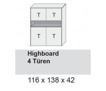 Arte M Highboard Chester. 4 Türen Weiss Ultramatt in verschiedenen  Varianten 116 x 138 x 42 cm