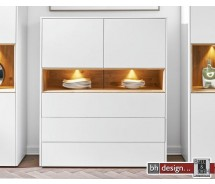 Arte M Highboard Chester. 2 Türen, 3 Schubkästen  in verschiedenen  Varianten 116 x 138 x 42 cm