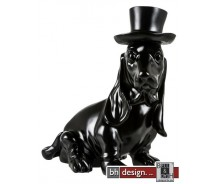 Skulptur Crazy Hund schwarz mit Zylinder by Crazy Zoo 21 x H 41 x T 42 cm