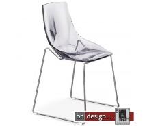 Diamant Designstuhl aus hochwertigem Kunststoff mit Chromgestell in transparent