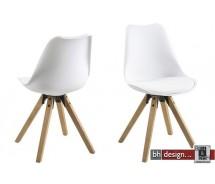 Dima Designstuhl aus hochwertigem Kunststoff  und Stoffen in verschiedenen Farben, Gestell Massiv Eiche