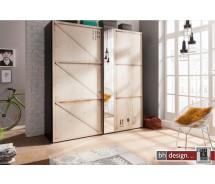 Express Möbel Schwebetürenschrank Caja im überdimensionalen KIsten Design, 200 cm  x H  216 cm