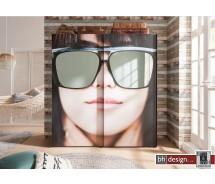 Express Möbel Schwebetürenschrank Sunny im überdimensionalen Girly Sunglas Design, 200 cm  x H  216 cm