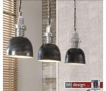 Factory Line Hängelampe 3-er Set  gebranntes Metall Schwarz 100 x H 150 cm