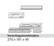 Arte M Vorschlagskombination Feel  Weiss, alternativ Cubanit/ HG/ Eiche massiv,  270 cm x 181 cm