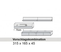 Arte M Vorschlagskombination Feel  Weiss, alternativ Cubanit/ HG/ Eiche massiv,  315 cm x 165 cm