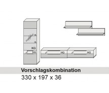Arte M Vorschlagskombination Feel  Weiss, alternativ Cubanit/ HG/ Eiche massiv,  330 cm x 197 cm